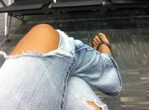 Favorite holey jeans and sandals