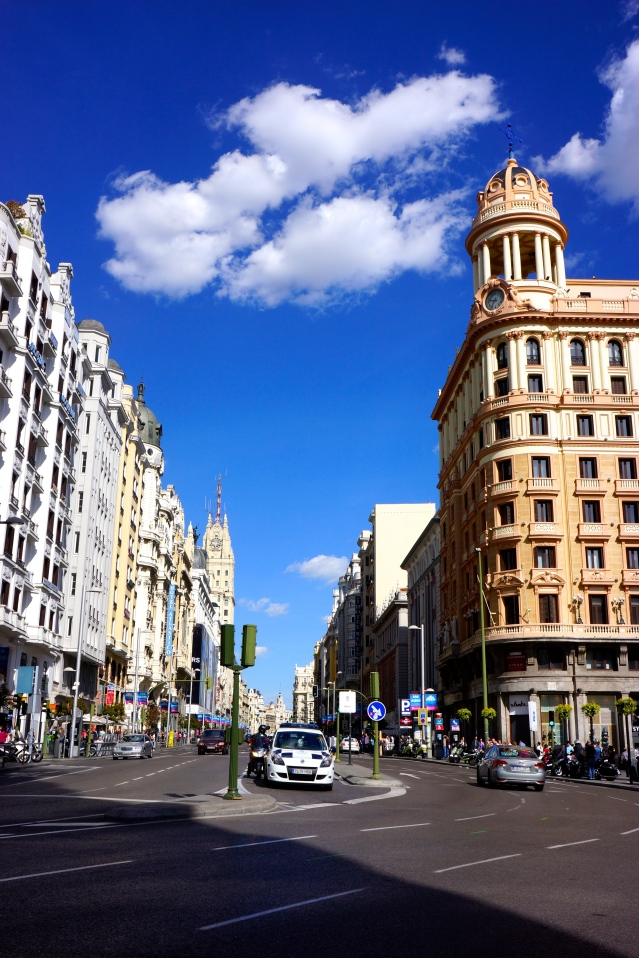 The street outside Callao Station, Madrid